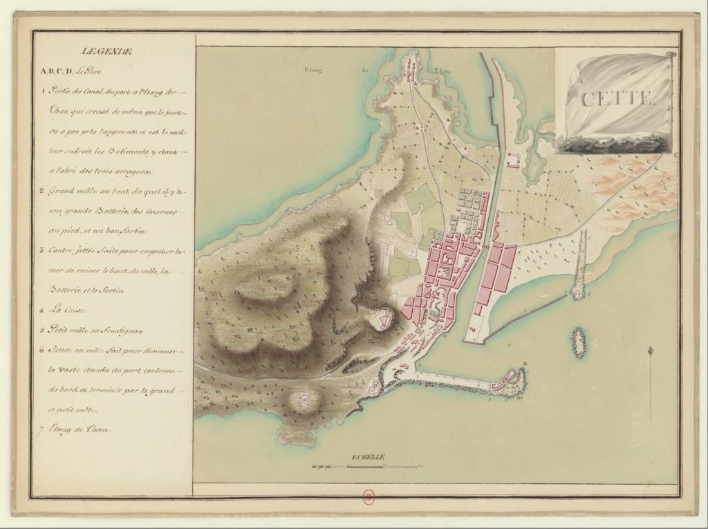 Plan of Sète (Cette) from 1777 — Cette image provient de la Bibliothèque en ligne Gallica sous l'identifiant ARK btv1b53010782c/f48.item, Domaine public, https://commons.wikimedia.org/w/index.php?curid=31013009